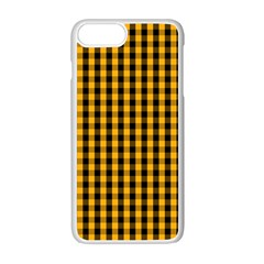 Pale Pumpkin Orange And Black Halloween Gingham Check Apple Iphone 7 Plus White Seamless Case by PodArtist