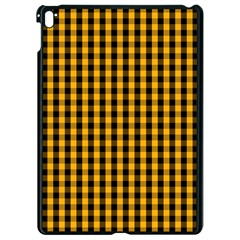 Pale Pumpkin Orange And Black Halloween Gingham Check Apple Ipad Pro 9 7   Black Seamless Case by PodArtist