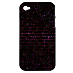 Brick1 Black Marble & Burgundy Marble Apple Iphone 4/4s Hardshell Case (pc+silicone) by trendistuff