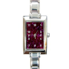 Brick1 Black Marble & Burgundy Marble (r) Rectangle Italian Charm Watch by trendistuff