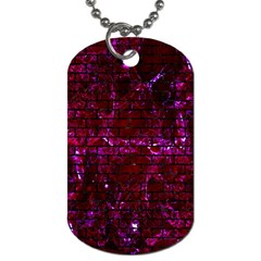 Brick1 Black Marble & Burgundy Marble (r) Dog Tag (one Side) by trendistuff