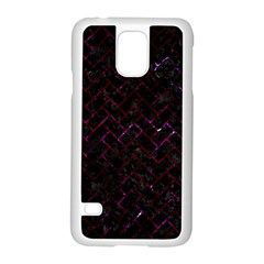 Brick2 Black Marble & Burgundy Marble Samsung Galaxy S5 Case (white) by trendistuff