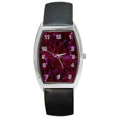 Brick2 Black Marble & Burgundy Marble (r) Barrel Style Metal Watch by trendistuff