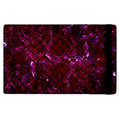 Brick2 Black Marble & Burgundy Marble (r) Apple Ipad 2 Flip Case by trendistuff