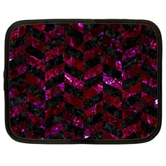 Chevron1 Black Marble & Burgundy Marble Netbook Case (xxl)  by trendistuff