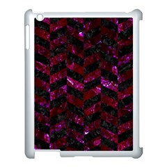 Chevron1 Black Marble & Burgundy Marble Apple Ipad 3/4 Case (white) by trendistuff