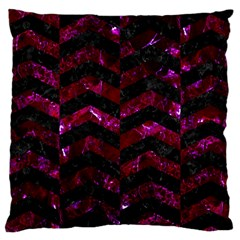 Chevron2 Black Marble & Burgundy Marble Large Cushion Case (two Sides) by trendistuff