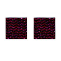 Chevron3 Black Marble & Burgundy Marble Cufflinks (square) by trendistuff