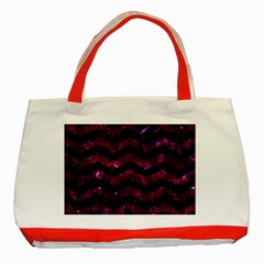 Chevron3 Black Marble & Burgundy Marble Classic Tote Bag (red) by trendistuff