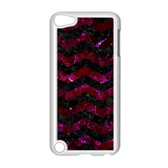 Chevron3 Black Marble & Burgundy Marble Apple Ipod Touch 5 Case (white) by trendistuff