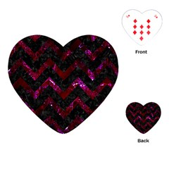 Chevron9 Black Marble & Burgundy Marble Playing Cards (heart)  by trendistuff