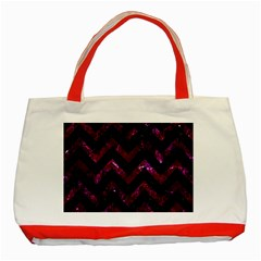 Chevron9 Black Marble & Burgundy Marble Classic Tote Bag (red)