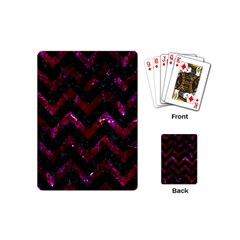 Chevron9 Black Marble & Burgundy Marble Playing Cards (mini)  by trendistuff