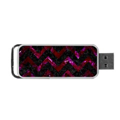 Chevron9 Black Marble & Burgundy Marble Portable Usb Flash (two Sides) by trendistuff