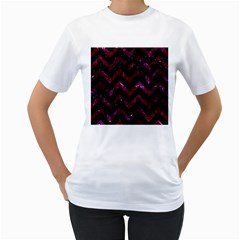 Chevron9 Black Marble & Burgundy Marble Women s T Shirt (white)  by trendistuff