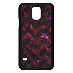 Chevron9 Black Marble & Burgundy Marble Samsung Galaxy S5 Case (black) by trendistuff