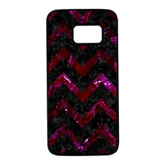 Chevron9 Black Marble & Burgundy Marble Samsung Galaxy S7 Black Seamless Case by trendistuff