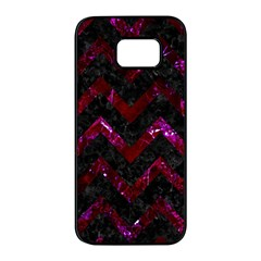 Chevron9 Black Marble & Burgundy Marble Samsung Galaxy S7 Edge Black Seamless Case