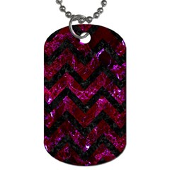 Chevron9 Black Marble & Burgundy Marble (r) Dog Tag (two Sides) by trendistuff
