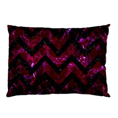 Chevron9 Black Marble & Burgundy Marble (r) Pillow Case (two Sides) by trendistuff