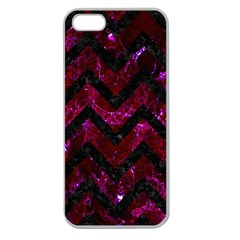 Chevron9 Black Marble & Burgundy Marble (r) Apple Seamless Iphone 5 Case (clear) by trendistuff