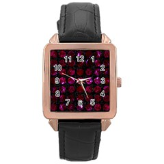 Circles1 Black Marble & Burgundy Marble Rose Gold Leather Watch  by trendistuff