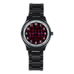 Circles1 Black Marble & Burgundy Marble Stainless Steel Round Watch by trendistuff