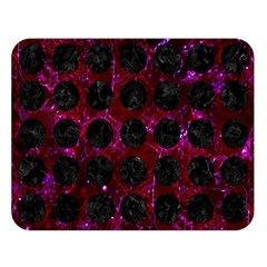 Circles1 Black Marble & Burgundy Marble (r) Double Sided Flano Blanket (large)  by trendistuff