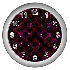 Circles2 Black Marble & Burgundy Marble (r) Wall Clocks (silver)  by trendistuff