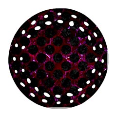 Circles2 Black Marble & Burgundy Marble (r) Ornament (round Filigree) by trendistuff
