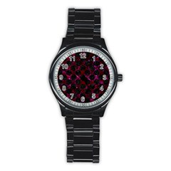 Circles2 Black Marble & Burgundy Marble (r) Stainless Steel Round Watch by trendistuff