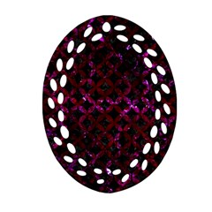 Circles3 Black Marble & Burgundy Marble Ornament (oval Filigree) by trendistuff