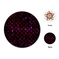 Circles3 Black Marble & Burgundy Marble (r) Playing Cards (round)  by trendistuff