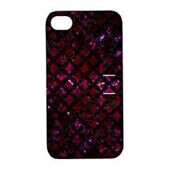 Circles3 Black Marble & Burgundy Marble (r) Apple Iphone 4/4s Hardshell Case With Stand by trendistuff