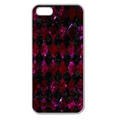 Diamond1 Black Marble & Burgundy Marble Apple Seamless Iphone 5 Case (clear) by trendistuff