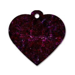 Damask2 Black Marble & Burgundy Marble (r) Dog Tag Heart (one Side) by trendistuff