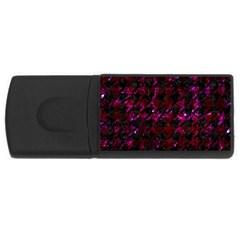 Houndstooth1 Black Marble & Burgundy Marble Rectangular Usb Flash Drive by trendistuff