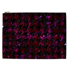 Houndstooth1 Black Marble & Burgundy Marble Cosmetic Bag (xxl)  by trendistuff