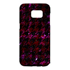 Houndstooth1 Black Marble & Burgundy Marble Samsung Galaxy S7 Edge Hardshell Case by trendistuff