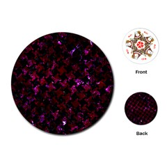 Houndstooth2 Black Marble & Burgundy Marble Playing Cards (round)  by trendistuff