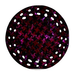 Houndstooth2 Black Marble & Burgundy Marble Ornament (round Filigree) by trendistuff