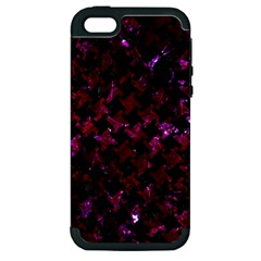Houndstooth2 Black Marble & Burgundy Marble Apple Iphone 5 Hardshell Case (pc+silicone) by trendistuff