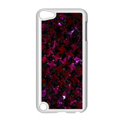 Houndstooth2 Black Marble & Burgundy Marble Apple Ipod Touch 5 Case (white) by trendistuff