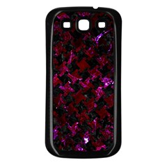 Houndstooth2 Black Marble & Burgundy Marble Samsung Galaxy S3 Back Case (black) by trendistuff