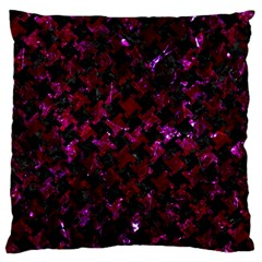 Houndstooth2 Black Marble & Burgundy Marble Large Flano Cushion Case (one Side) by trendistuff