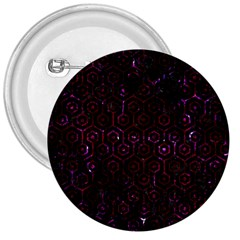 Hexagon1 Black Marble & Burgundy Marble 3  Buttons by trendistuff