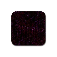 Hexagon1 Black Marble & Burgundy Marble Rubber Square Coaster (4 Pack)  by trendistuff