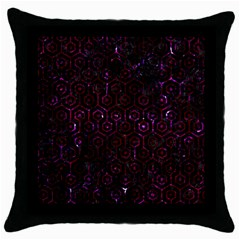 Hexagon1 Black Marble & Burgundy Marble Throw Pillow Case (black) by trendistuff