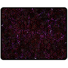 Hexagon1 Black Marble & Burgundy Marble Double Sided Fleece Blanket (medium)  by trendistuff