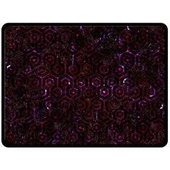 Hexagon1 Black Marble & Burgundy Marble Double Sided Fleece Blanket (large)  by trendistuff